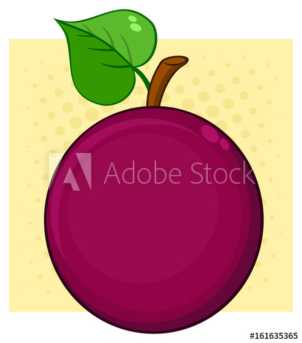 439x500 Passion Fruit With Heart Leaf Cartoon Drawing Simple Design