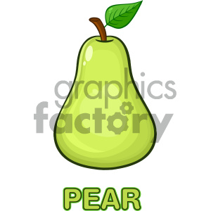 300x300 Royalty Free Rf Clipart Illustration Green Pear Fruit With Green