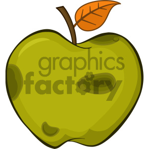 300x300 Royalty Free Rf Clipart Illustration Rotten Green Apple Fruit