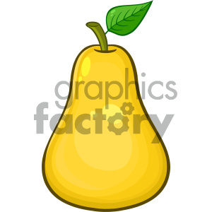 300x300 Royalty Free Rf Clipart Illustration Yellow Pear Fruit With Green
