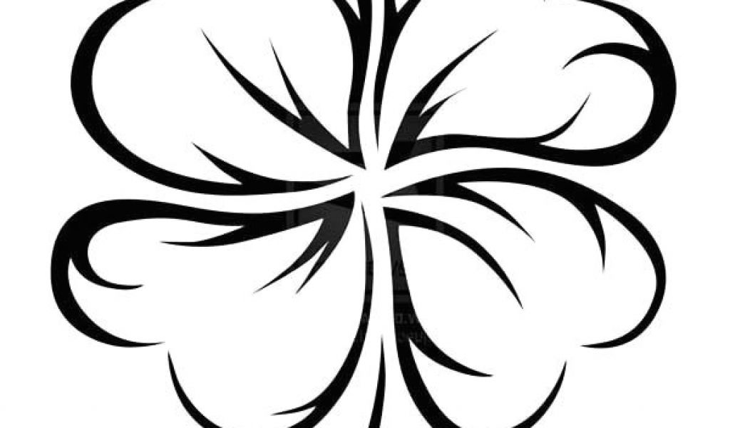 1024x600 Leaf Clover Drawing Easy An Art Graphic Of Four Leaf Clover