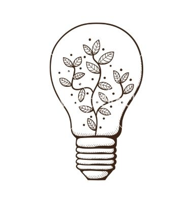 380x400 Light Bulb With Leaves Within Vector