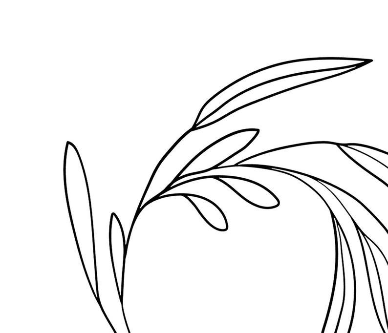 794x682 Leaf Line Art Plant Art Botanical Art Wreath Minimal Art Etsy