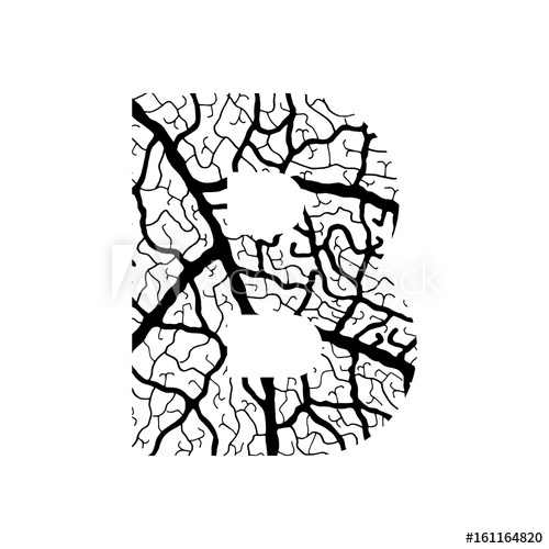 500x500 Nature Alphabet, Ecology Decorative Font Capital Letter B Filled