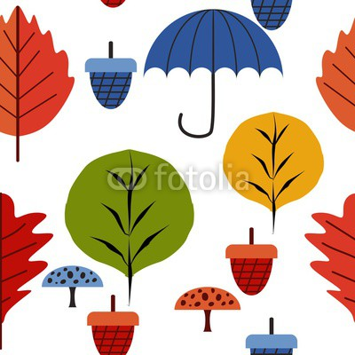 400x400 Autumn Kids Drawing Pattern With Leaf, Walnut Fruit, And Umbrella
