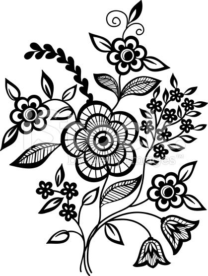 419x556 Black And White Flowers And Leaves Design Element Tattoo Ideas