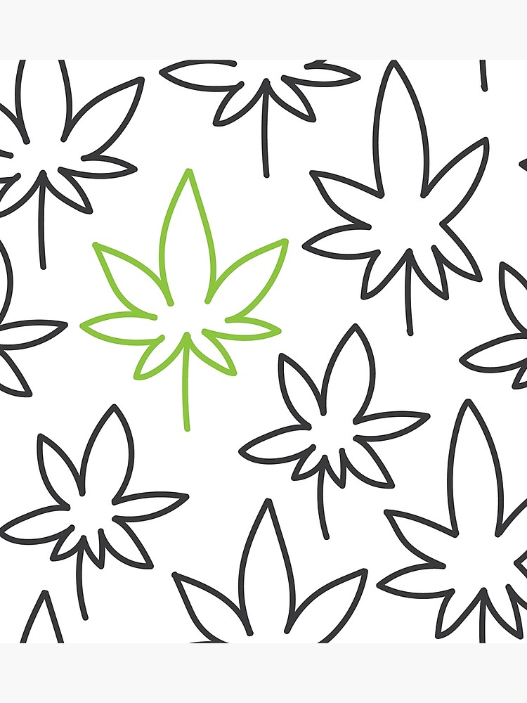 750x1000 Cannabis Leaf Seamless Pattern Doodle Drawing Vector