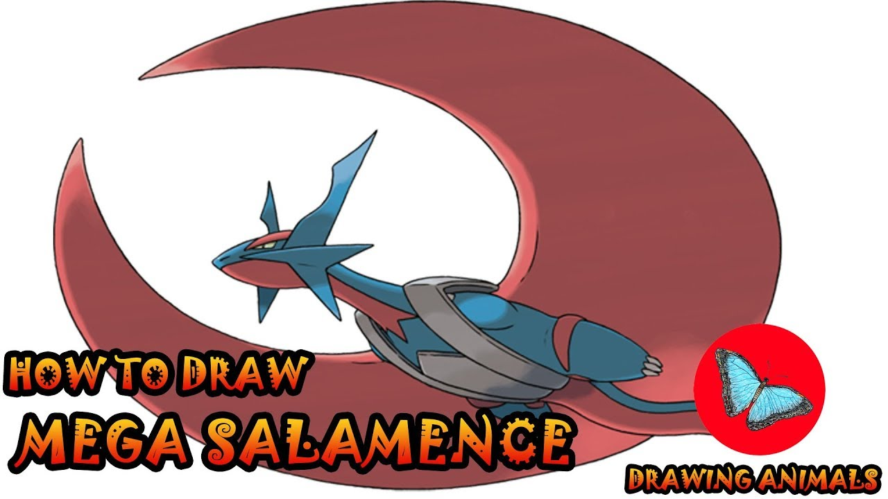1280x720 How To Draw Mega Salamence Pokemon Drawing Animals