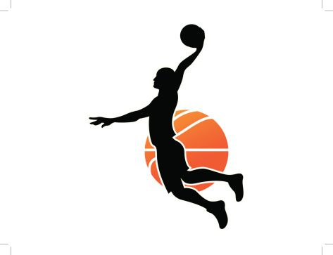 473x363 black silhouette of a man dunking a basketball vector