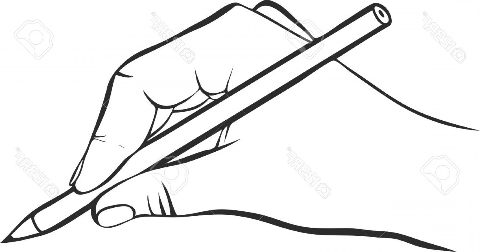 1560x819 photostock vector writing hand with pencil drawing left hand hand
