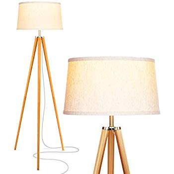 350x350 Lepower Wood Tripod Floor L Flaxen Lamp Shade With Lamp