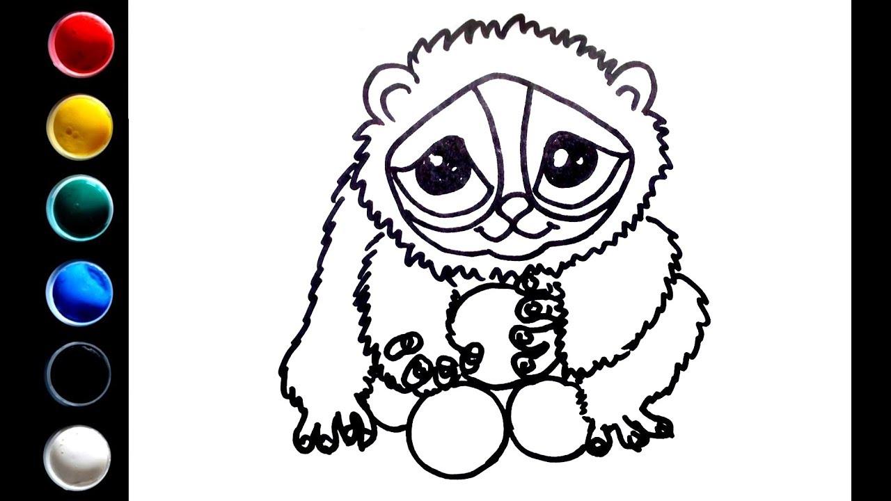 1280x720 how to draw a cute lemur with gouache