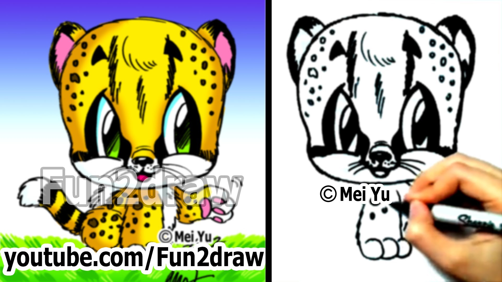 1920x1080 Cute Easy Snow Leopard Drawing