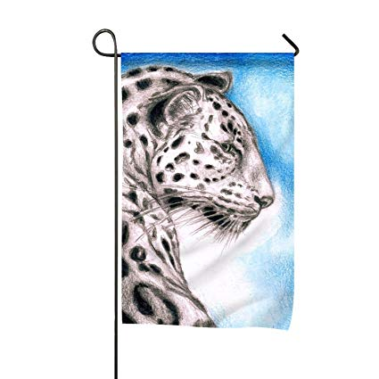 425x425 Leopard On Blue Drawing Polyester Garden Flag House