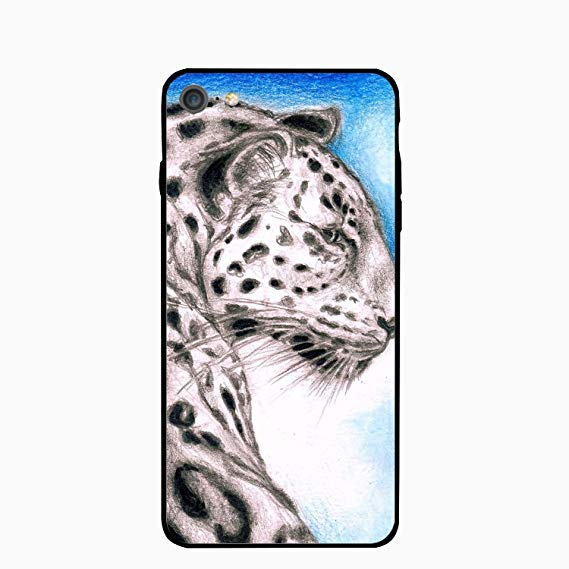 569x569 Iphone Case, Leopard On Blue Drawing Printed Slim