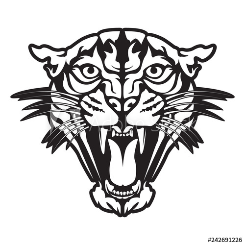 500x500 Leopard Angry Face Tattoo Vector Illustration Of Jaguar Head