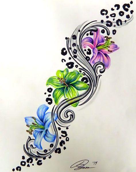 474x598 Colorful Leopard Print Flower Tattoo Design Ink Tattoos
