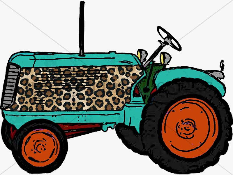 800x600 Funky Tractor Orange Turquoise And Leopard Print Clipart Drawing