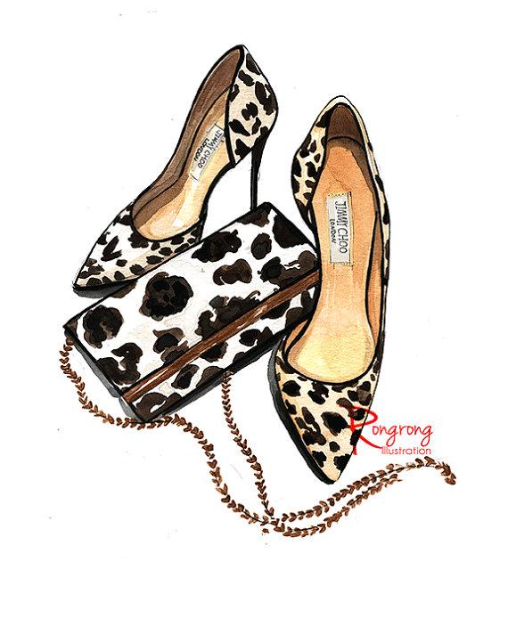 570x713 Leopard Print Art Girly Wall Art Fashion