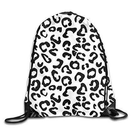 425x425 Yuzioz Black And White Leopard Print Gym Sack Bag