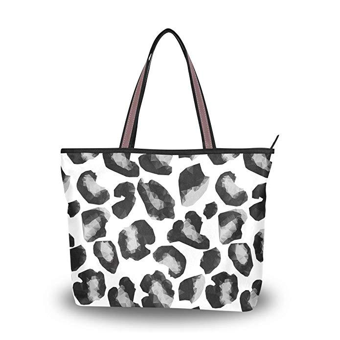 695x695 Cameo Leopard Print Decor Women's Travel Shopping One Shoulder
