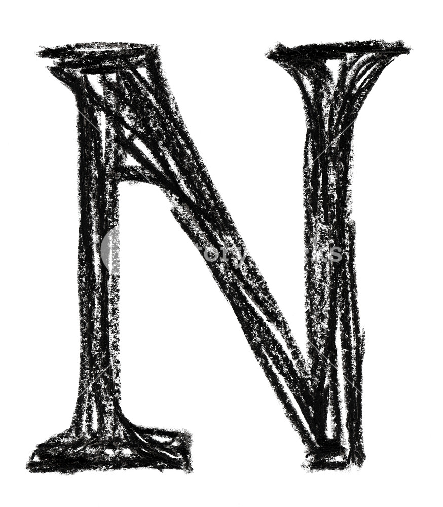 874x1000 Handwritten Sketch Black Letter N On White Background Royalty Free