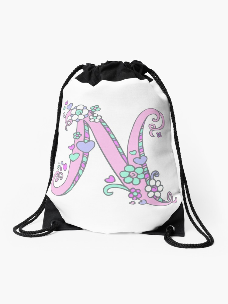 750x1000 Letter N Drawing Doodle Monogram Art Drawstring Bag