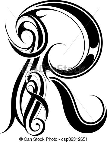 355x470 letter r gothic style gothic style capital letter r isolated