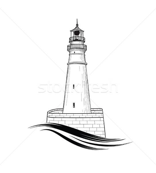 543x600 lighthouse logo hand drawn sketch symbol of lighthouse with sea