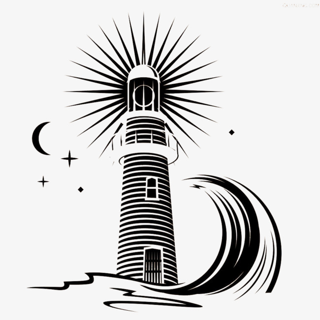 650x651 painted black lighthouse, lighthouse clipart, lighthouse, hand