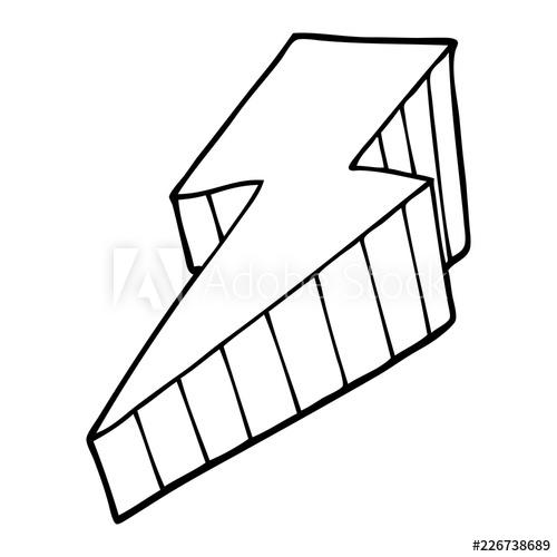 500x500 Line Drawing Cartoon Decorative Lightning Bolt