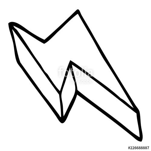 500x500 Line Drawing Cartoon Decorative Lightning Bolt Stock Image