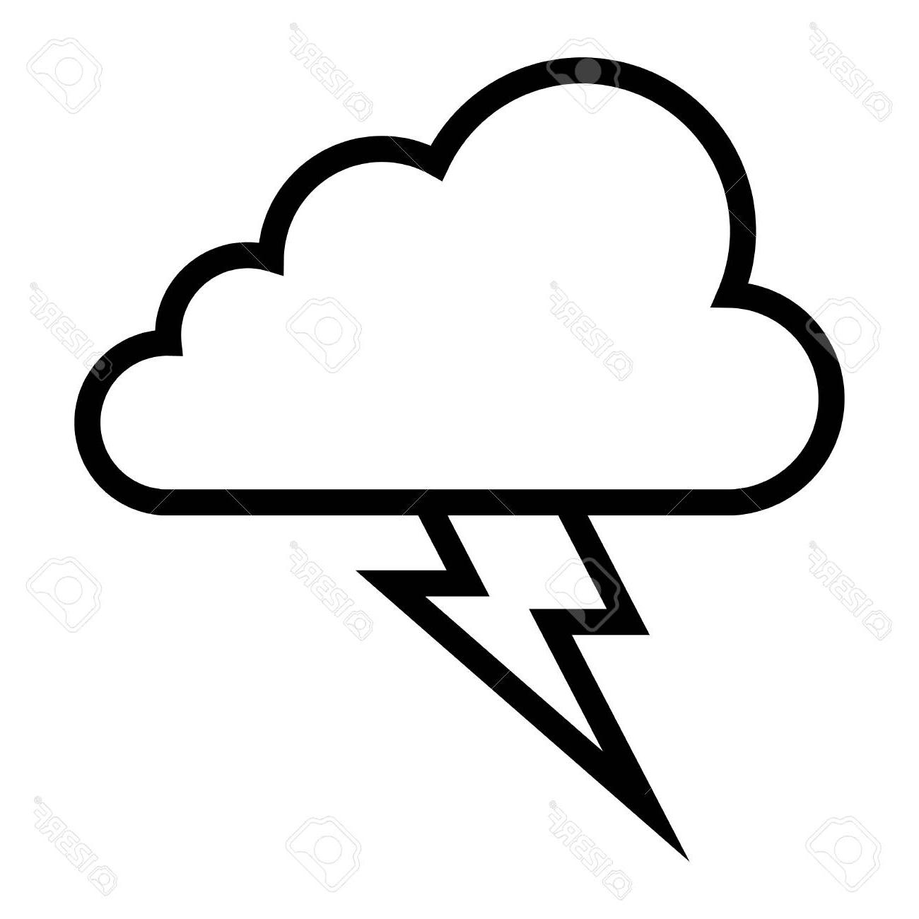 1300x1300 Lightning Drawing Storm Cloud For Free Download