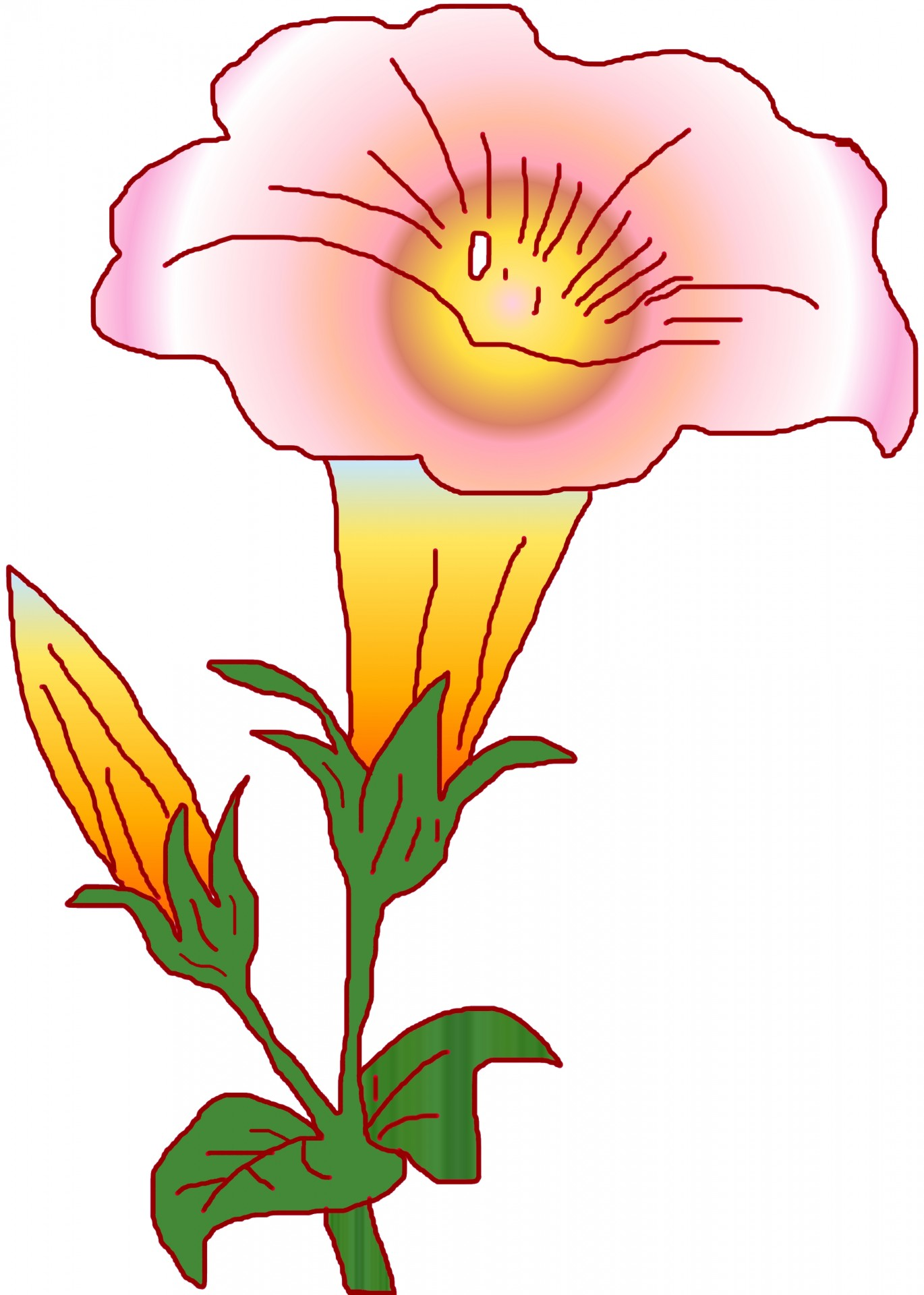 1370x1920 Doodle, Drawing, Lily, Flower, Gradient