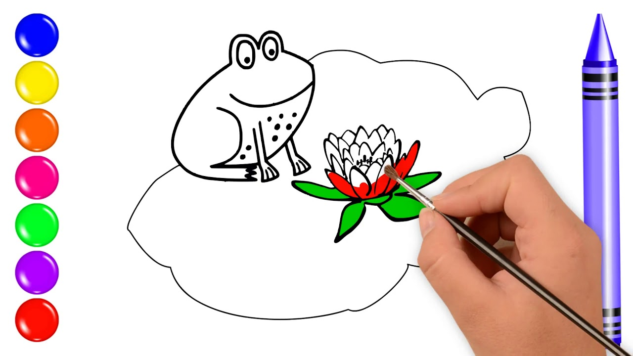 1280x720 Smiling Frog Lily Pad Drawing Coloring For Kids