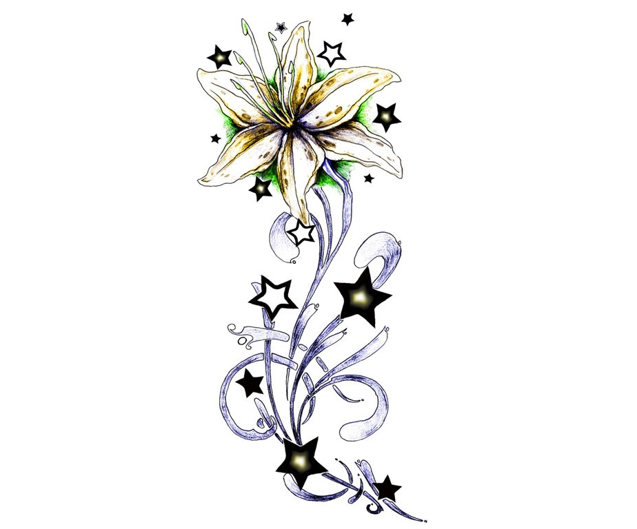 924x768 Star Flower Tattoo Designs Group With Items