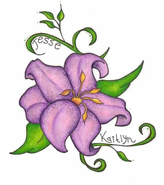 534x604 Awesome Lily Tattoo Design