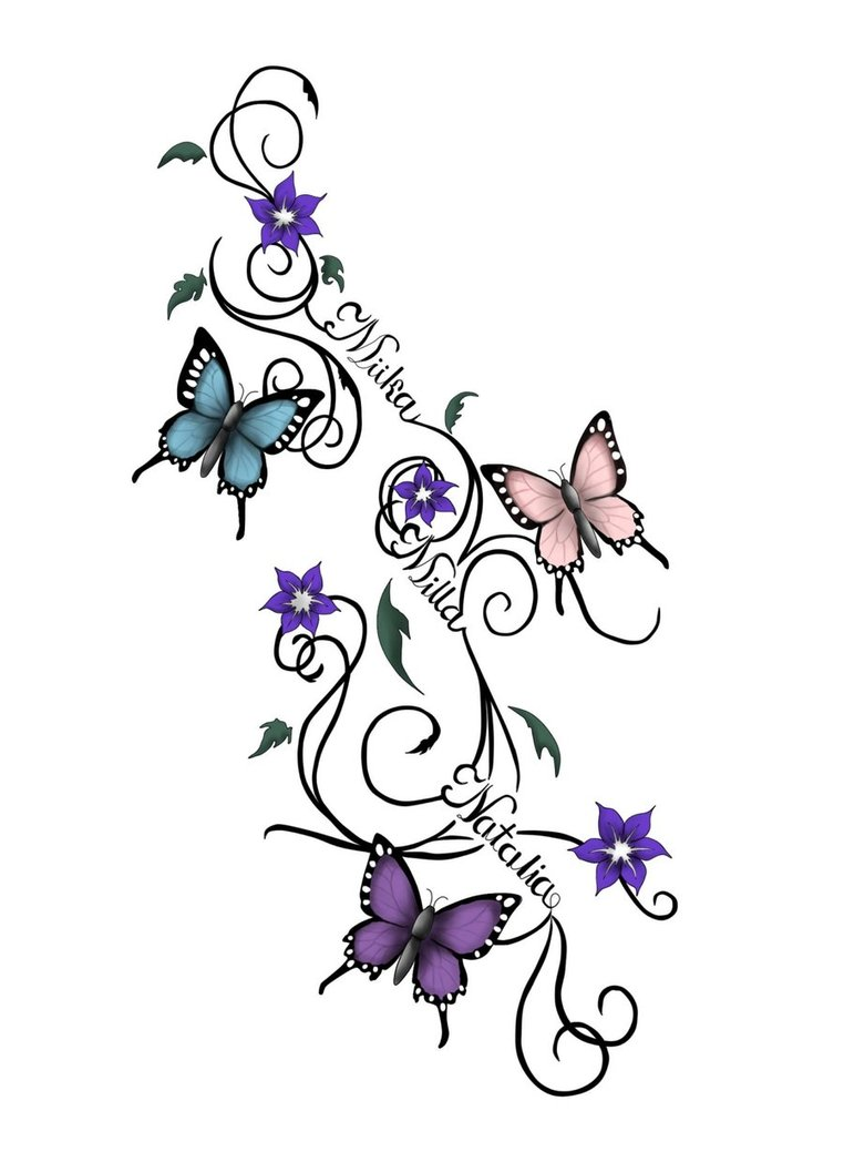 762x1048 Butterfly N Lily Tattoo Sketch Tattoo Ideas
