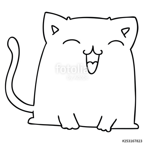 500x500 Quirky Line Drawing Cartoon Cat Stock Image And Royalty Free