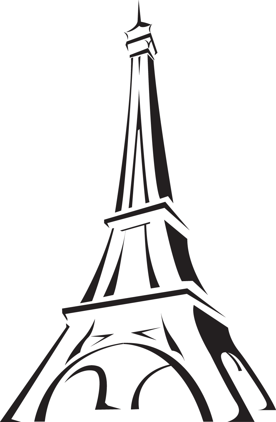 900x1375 Eiffel Tower Line Drawing Clipart Free Clip Art Images Image