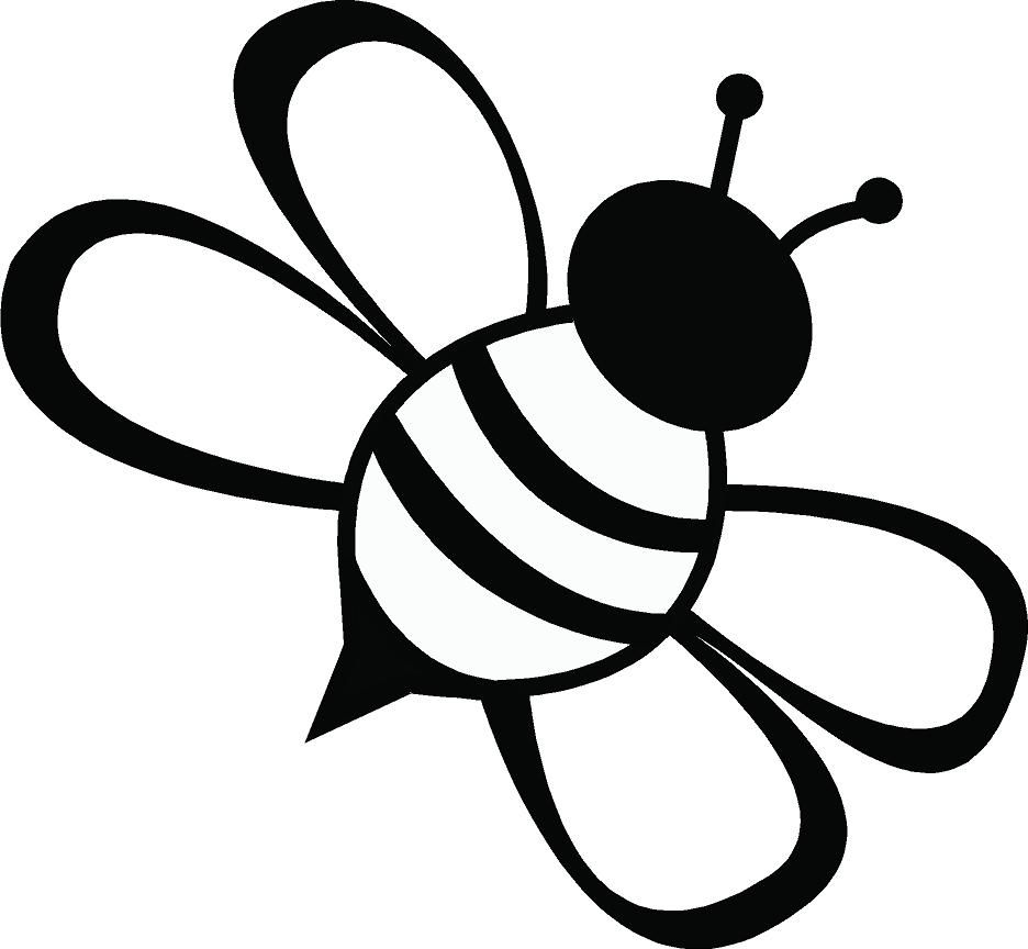 936x864 Line Drawing Simple Bee
