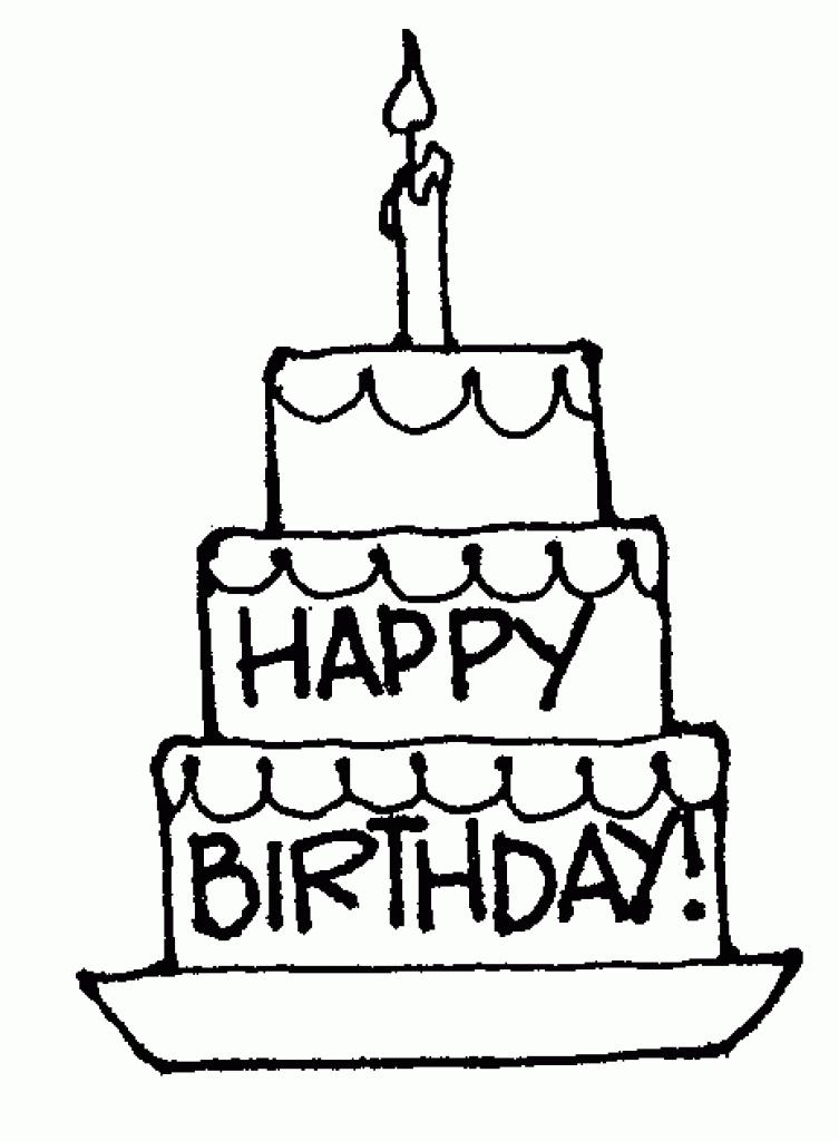 753x1024 Birthday Cake Clip Art Line