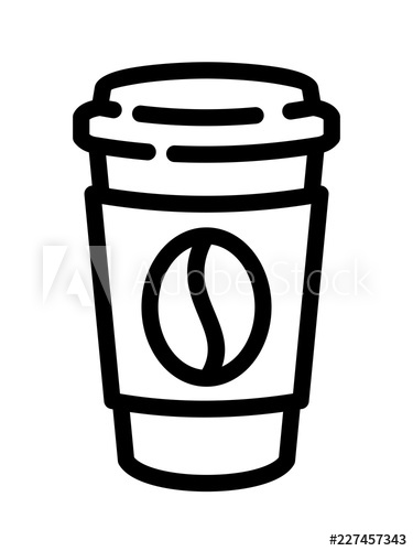 375x500 Coffee Cup Icon With Bean Symbol In Flat Line Style Take Away