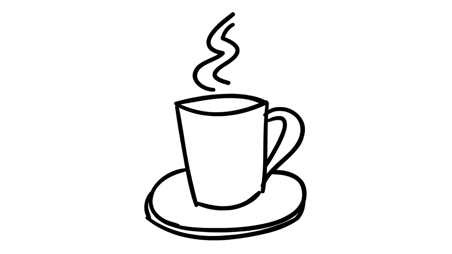 1920x1080 Hot Coffee Tea Cup Line Drawing Illustration Animation Trasnparent
