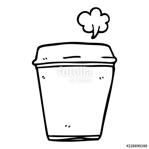 500x500 Line Drawing Cartoon Coffee Cup Stock Image And Royalty Free