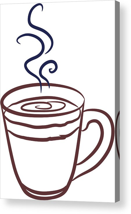 452x740 Clear Coffee Mug Line Drawing Outline With Blue Steam Swirls
