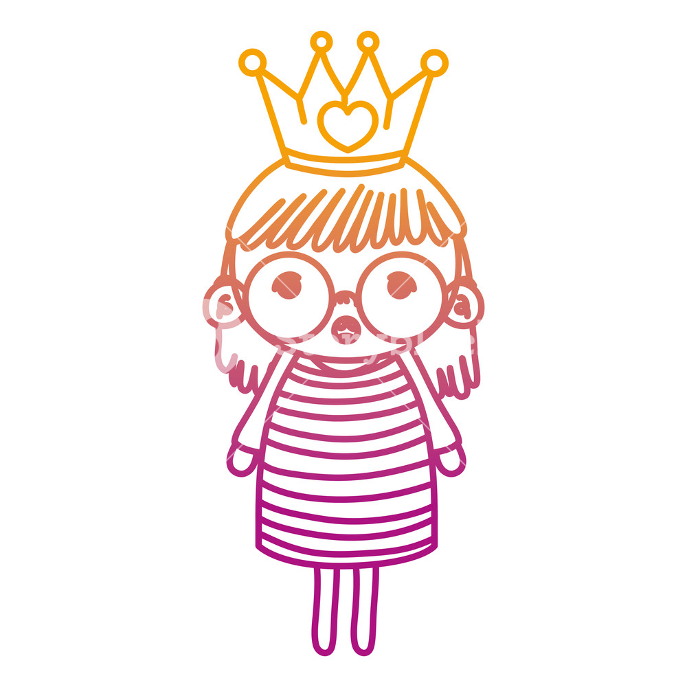 1000x1000 Degraded Line Girl Child With Glasses And Metal Crown Vector