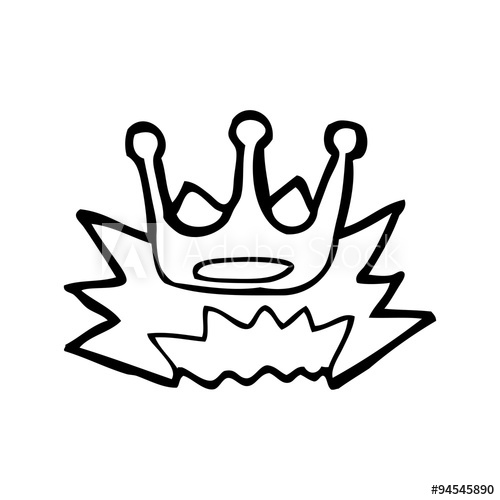 500x500 Line Drawing Cartoon Crown Symbol
