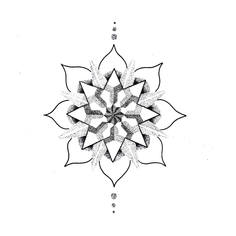 1500x1500 Dot Drawing Lotus Flower For Free Download