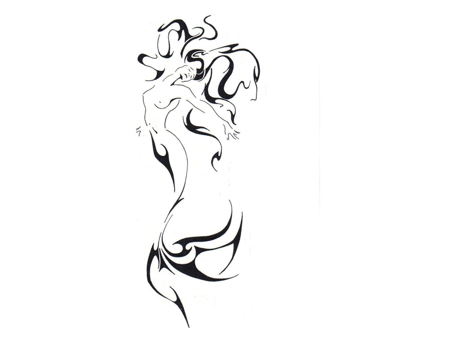 Line Drawing Mermaid